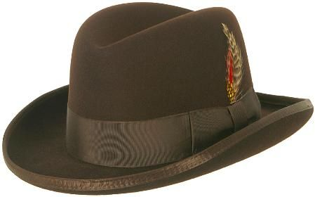Mens Brown Godfather Hat 100% Wool Homburg Brim Hats 4201