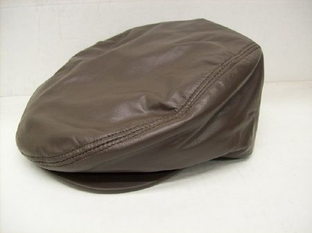 Mens Brown Leather Cowhide Ivy Cap - click to enlarge