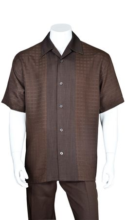 Mens Brown Leisure Suit Short Sleeve Checker Front 2960 - click to enlarge