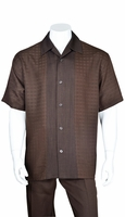 Mens Brown Leisure Suit Short Sleeve Checker Front 2960