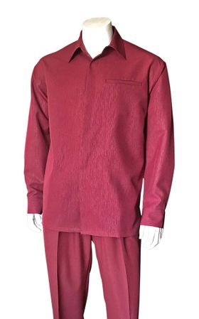 Men's Burgundy Long Sleeve Walking Suit Fortino 2764