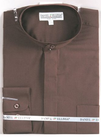 Mens Brown No Collar Dress Shirt Daniel Ellissa DS3001C