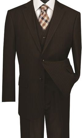 Mens Brown Pinstripe 3 Piece Suit Regular Fit Vinci V2RS-7