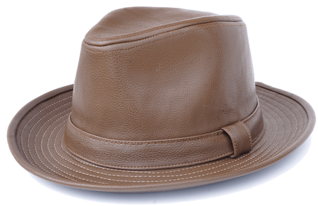 Mens Brown PU Leather Fedora Hat Bruno FD-307