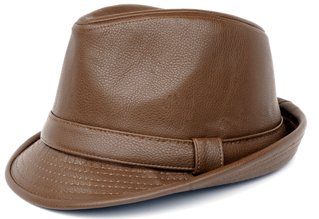 Mens Brown PU Leather Stingy Brim Hat Bruno FD-287