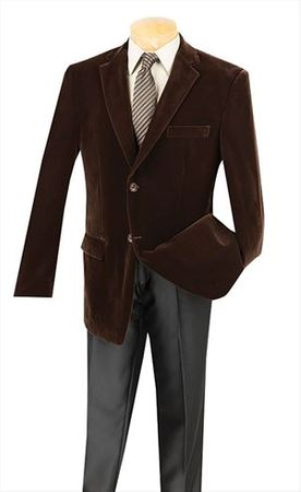 Mens Brown Velvet Blazer 2 Button Side Vents Vinci B-19