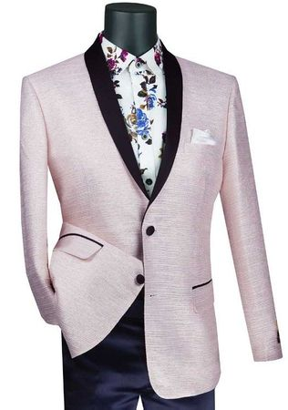 Mens Pink Slim Fit Metallic Stripe Prom Jacket Vinci BSF-12