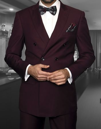 Men's Burgundy Double Breasted Suit Vinci DC900-1 - click to enlarge