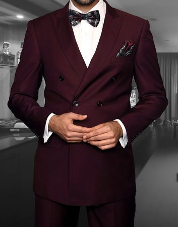 Double Breasted Suit Men's Burgundy Vinci DC900-1