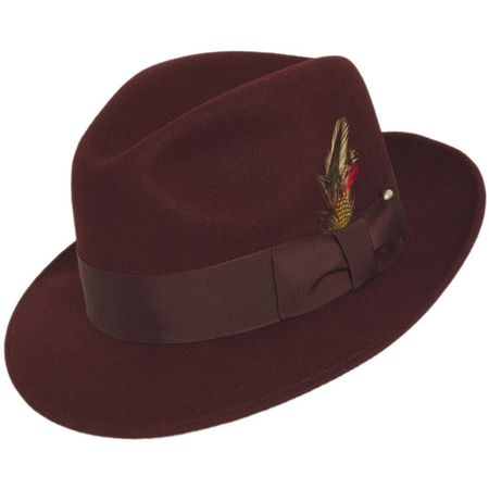 Mens Burgundy Fedora Hat 100% Wool Untouchable Brim Hats 8345 - click to enlarge