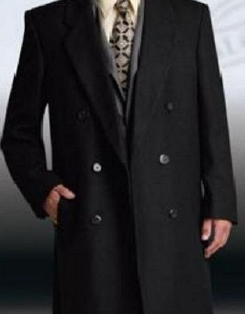 Men's Black Double Breasted Wool Blend Overcoat Alberto DB-COAT - click to enlarge