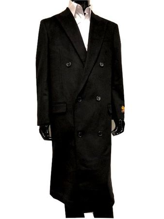 Men's Black Double Breasted Wool Overcoat Alberto DB-COAT IS - click to enlarge