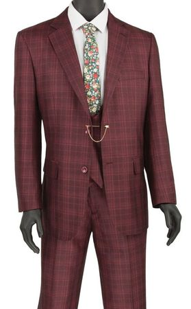 Mens Burgundy Glen Plaid 3 Piece Fashion Suit Vinci V2RW-7
