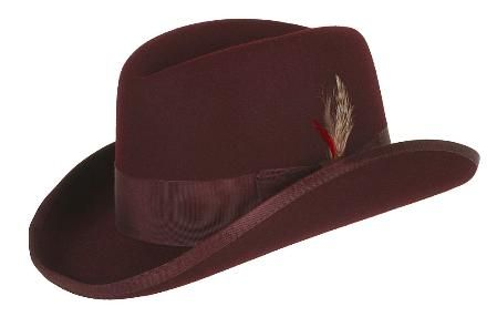 Mens Burgundy Godfather Hat 100% Wool Homburg Brim Hats 4201