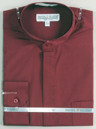 Mens Burgundy Mandarin No Collar Shirt Daniel Ellissa DS3001C