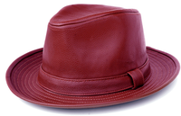 Mens Burgundy PU Leather Fedora Hat Bruno FD-309