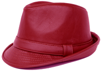Mens Burgundy PU Leather Stingy Brim Hat Bruno FD-289
