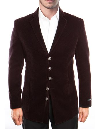 Mens Burgundy Slim Fit Velvet Jacket 5 Button Front MJ195S-03