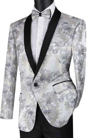 Mens Silver Slim Fit  Embroidered Prom Jacket Vinci BSF-13