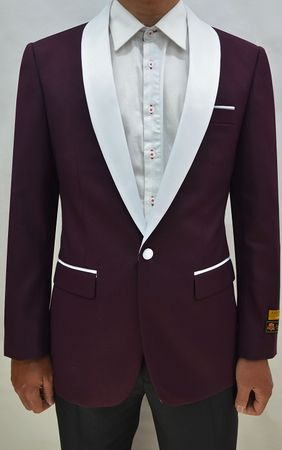 Mens Burgundy/White Collar Prom  Tuxedo Jacket Alberto Dinner-Jacket