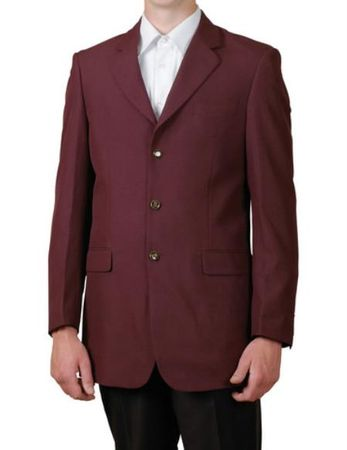 Mens Burgundy Wine 3 Button Blazer Classic Sport Jacket Lucci NZ-3PP