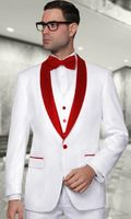 Mens Modern Fit White/Red Shawl Collar 3 Piece Wool Tuxedo Alberto Nardoni Tux-SH