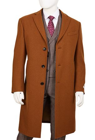 Mens Camel Wool Overcoat Regular Fit Vittorio COAT91 - click to enlarge