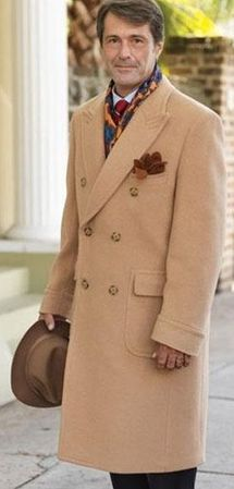 Men's Camel Double Breasted Wool Blend Overcoat Alberto DB-COAT - click to enlarge
