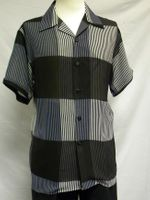 Mens Casual Short Sleeve Shirt Black Stripe Pattern Pronti 6247