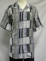 Mens Casual Short Sleeve Shirt Grey Pattern Pronti 6243