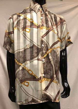Men's Brown Chain Print Short Sleeve Casual Shirt Pronti S6499