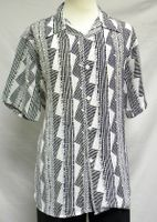 Mens Casual Short Sleeve Shirt White Geo Pattern Pronti 6242