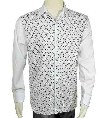 Pronti Mens White Diamond Velvet Printed Button Down Shirt S6447 - click to enlarge