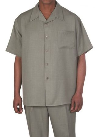 Big Size Men's Walking Suit Olive Short Sleeve Outfit Fortino 2954G