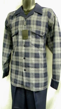 Mens Casual Walking Suits by Montique Navy Bold Plaid 1065 - click to enlarge