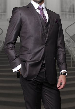 Men's Charcoal Gray Modern Fit Cut Wool 3 Piece Vested Suits Alberto S2BV-100 - click to enlarge