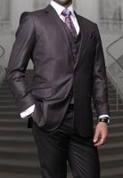 Men's Charcoal Gray Modern Fit Cut Wool 3 Piece Vested Suits Alberto S2BV-100