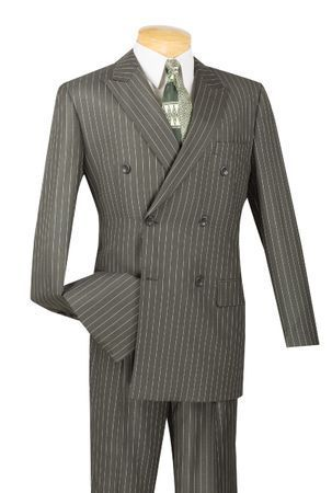 Mens Charcoal Stripe Double Breasted Suit DSS-4 Size 40R Final Sale