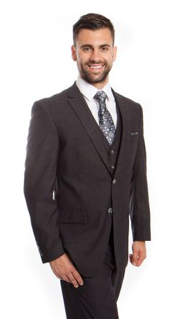Men's Charcoal Mini Check Italian Wool Double Vent 3 Pc. Suit ZG MW248-02 - click to enlarge