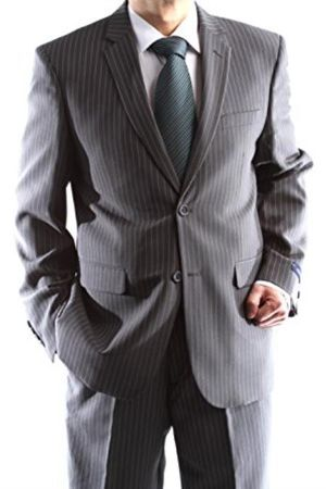 Mens Charcoal Pinstripe 2 Button Suit 2 Piece 2RS-16