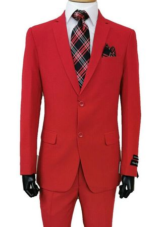 Mens Cheap Red Suit Discount on Sale 2PP