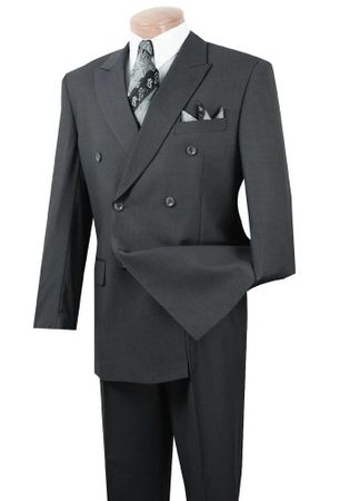 Men's Double Breasted Suit Charcoal Closed Back Lucci DPP