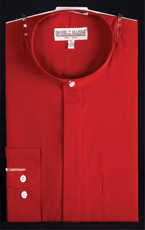 Mens Red Mandarin Collar Shirt Daniel Ellissa DS3001C