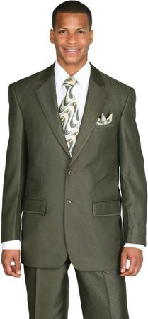 Mens Church Suit High Fashion Olive Green Sharkskin 2 Piece Milano 57021 - click to enlarge