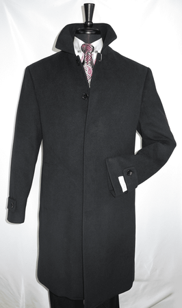 Mens Black Wool Overcoat Covered Buttons Regular Fit COAT61 - click to enlarge