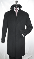 Mens Black Wool Overcoat Covered Buttons Regular Fit COAT61