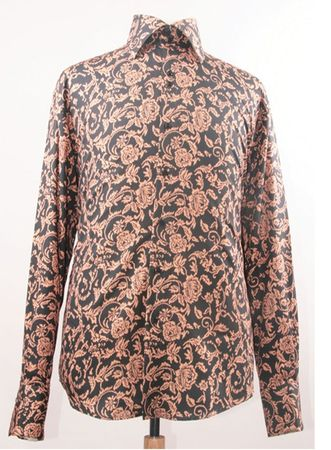 Mens Club Shirt with High Collars Black Taupe Floral FSS1418