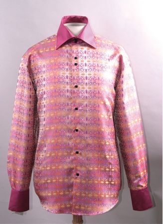 Mens Clubwear High Collar Shirt Fuchsia Patterned FSS1419 - click to enlarge
