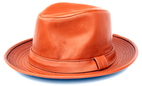Mens Cognac PU Leather Fedora Hat Bruno FD-304
