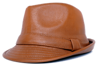 Mens Cognac PU Leather Stingy Brim Hat Bruno FD-284